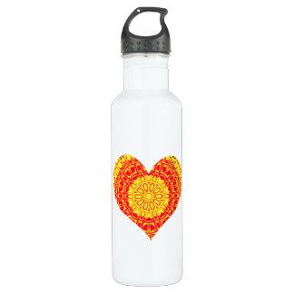 Glass Effect Mosaic Orange/Yellow (Heart) Stainless Steel Water Bottle