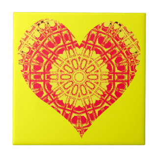 Glass Effect Mosaic Orange/Yellow (Heart) Tile