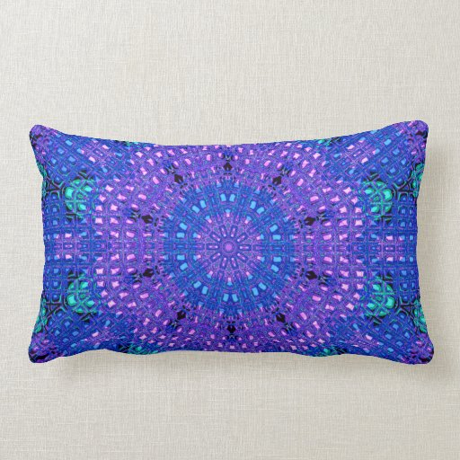Blue And Lavender Throw Pillows : Glass Effect Mosaic Purple/Blue Throw Pillow Zazzle