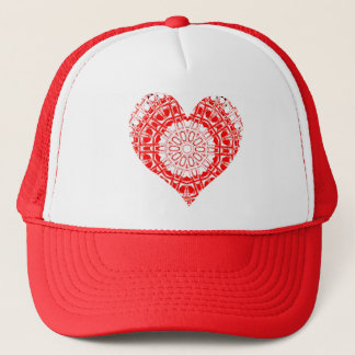 Glass Effect Mosaic Red/White (Heart) Trucker Hat