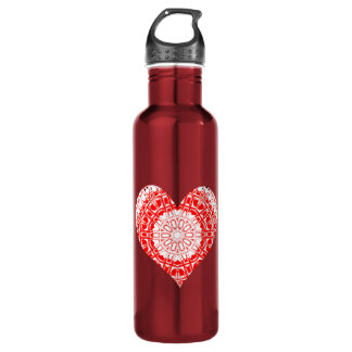 Glass Effect Mosaic Red/White (Heart) Water Bottle