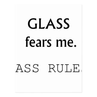 Glass Fears Me, Bass rules! black text Postcard