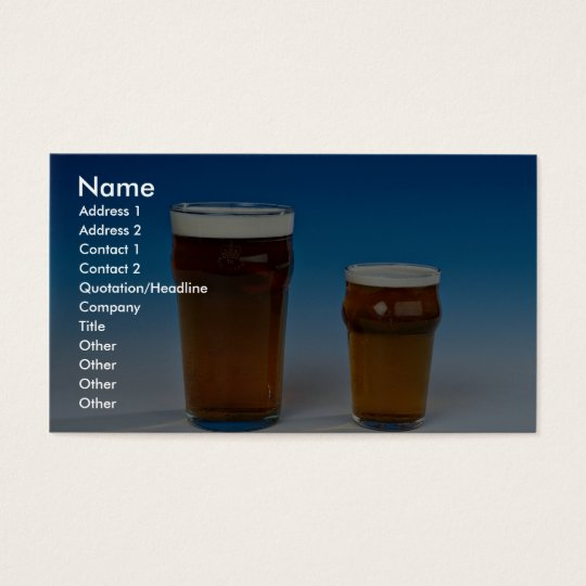 Glass filled with beer business card