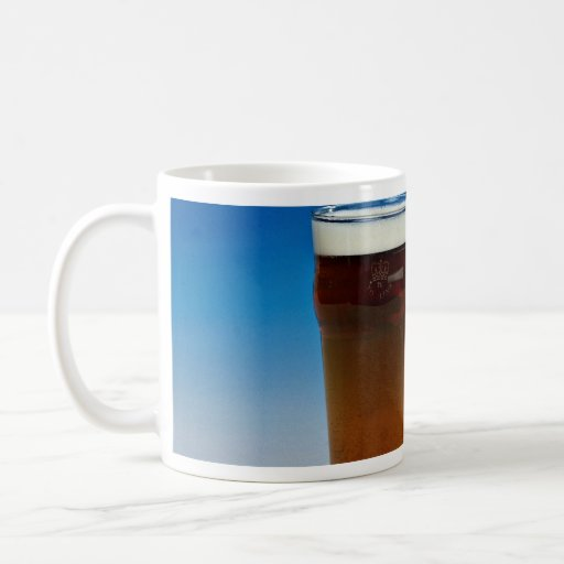 Glass filled with beer classic white coffee mug