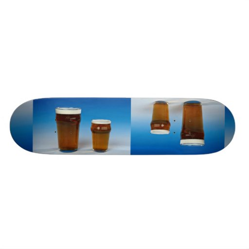 Glass filled with beer skate boards