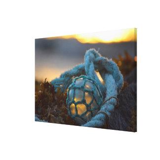 Glass fishing float, Sunset, Alaska Canvas Print