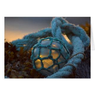 Glass fishing float, Sunset, Alaska Card