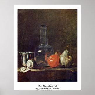 Glass Flask And Fruit By Jean-Baptiste Chardin Print
