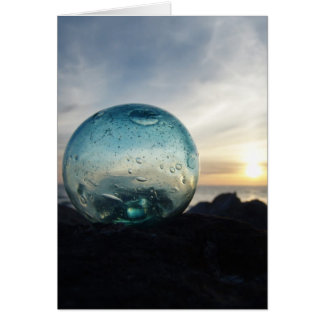Glass float and sunset card