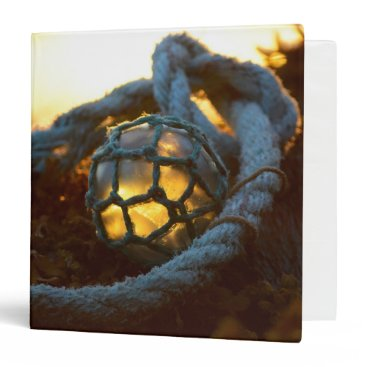 Beach Themed Glass float glows at sunset, Alaska 3 Ring Binder