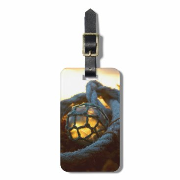 Beach Themed Glass float glows at sunset, Alaska Bag Tag