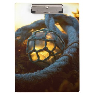 Beach Themed Glass float glows at sunset, Alaska Clipboard