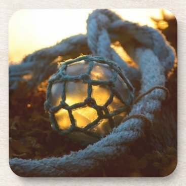 Beach Themed Glass float glows at sunset, Alaska Drink Coaster