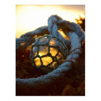 Glass float glows at sunset, Alaska Postcard