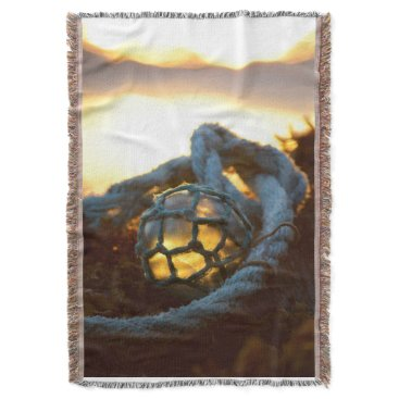 Beach Themed Glass float glows at sunset, Alaska Throw Blanket