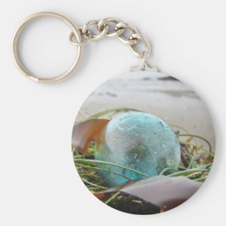 Glass Float in kelp Keychain