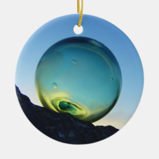 Glass Float Double-Sided Ceramic Round Christmas Ornament