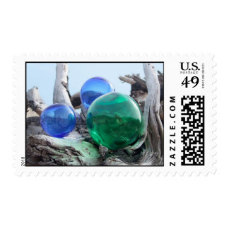 Glass Floats on driftwood Postage