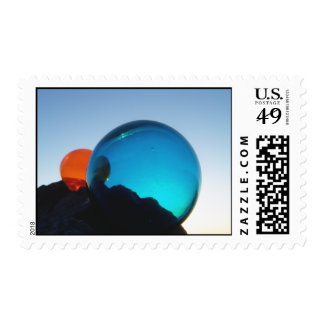 Glass Floats red and blue Postage