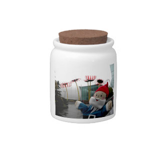 Glass Flower Gnome Candy Dish