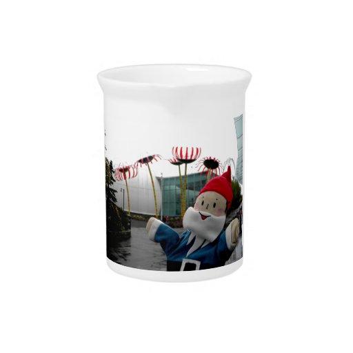 Glass Flower Gnome Beverage Pitcher