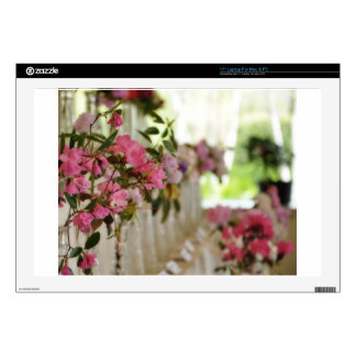 Glass flower vases with spring flowers laptop decal