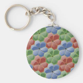 Glass Flowers Tile Keychain