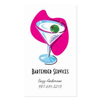 glass_fuchsia de martini del camarero tarjetas de visita
