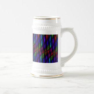 Glass Gem Blue Red Mosaic Abstract Artwork Beer Stein