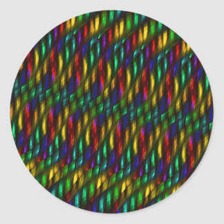 Glass Gem Green Red Mosaic Abstract Artwork Classic Round Sticker