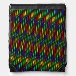 Glass Gem Green Red Mosaic Abstract Artwork Drawstring Backpacks