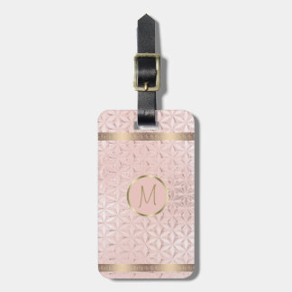 Glass Geometric Borders Monogram Rose Gold ID412 Bag Tag