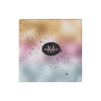 Glass Gradient and Splatter Monogram Pink ID444 Stone Magnet