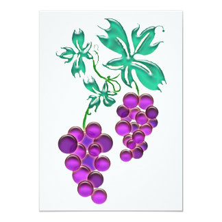 """Glass Grapes 5"""" X 7"""" Invitation Card"""