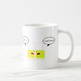 Glass Half Full vs. Glass Half Empty Coffee Mug