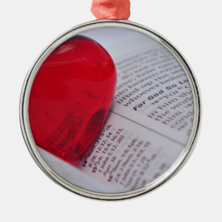 Glass Heart in Bible Metal Ornament