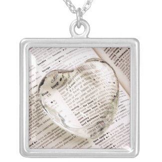 Glass Heart on Dictionary Page Photo, Love necklace