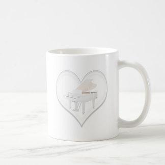 Glass Heart White Grand Piano Mug