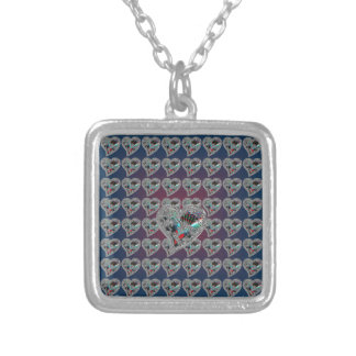 GLASS HEARTS & DRAGON TOE SILVER PLATED NECKLACE