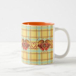 Glass Hearts Ornamental Two-Tone Coffee Mug