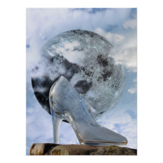 glass high heel slipper with full moon at midnight poster