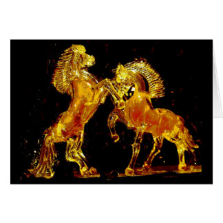 Glass Horses of Murano Italy Greeting Card