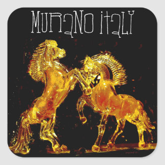 Glass Horses of Murano Italy Square Sticker