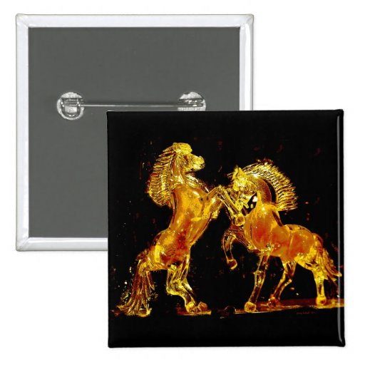 Glass Horses of Venice Italy 2 Inch Square Button