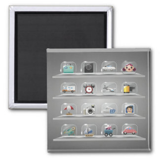 Glass Icons1 2 Inch Square Magnet