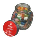 [Crown] keep calm and love hassan  Glass Jars
