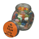 [Crown] keep calm and love wolves  Glass Jars