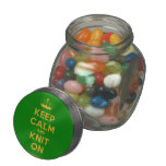[Knitting crown] keep calm and knit on  Glass Jars