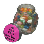 [Crown] keep calm and rock that crown  Glass Jars