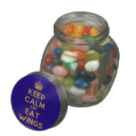 [Crown] keep calm and eat wings  Glass Jars